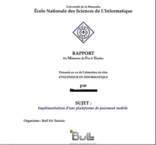 9 Lettre Projet Professionnel Fongecif: RAPPORT De Mémoire De Fin D' Etudes Implémentation D'une