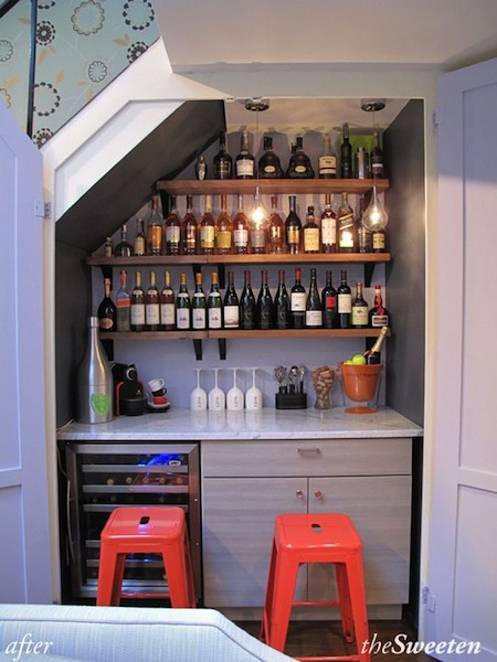Lighting Basement Washroom Stairs: Sweet Chaos Home: Wet Bar Under The Stairs
