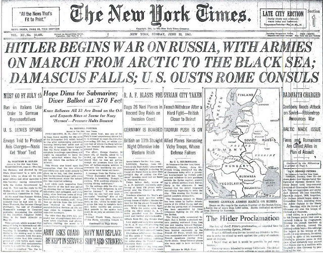 NY Times Operation Barbarossa 22 June 1941 worldwartwo.filminspector.com