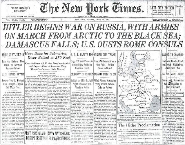 NY Times Operation Barbarossa 22 June 1941 worldwartwo.filminspector.com