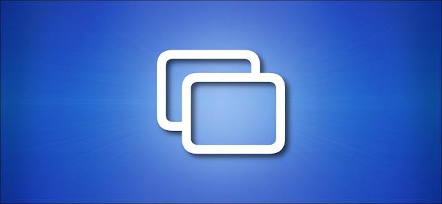 رمز انعكاس شاشة Apple على خلفية زرقاء
