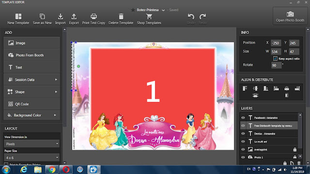 Template photobooth for Princess Birthday