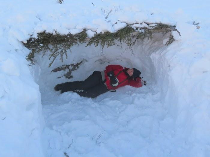 övernattning i snögrotta