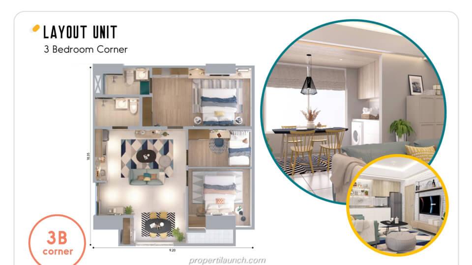 Layout Apartemen Skandinavia Alter Ego tipe 3 BR Corner