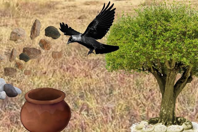 pyasa kouwa, pyasa kaouva  kahani , प्यासा कौवा कहानी  , Thirsty Crow Story in Hindi