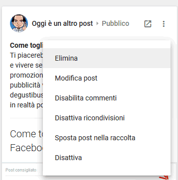 Come eliminare post su google più