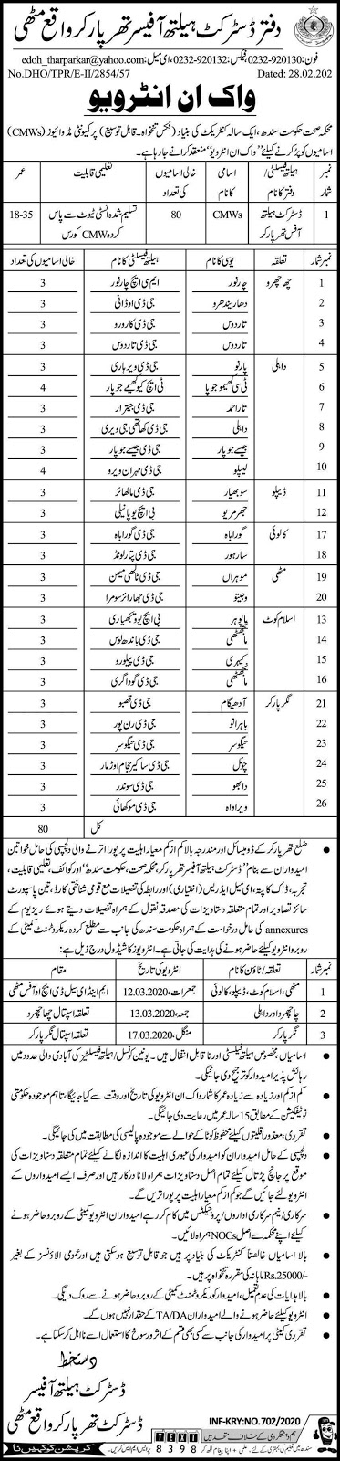Latest Walk-In Interview Office of the District Health Officer Jobs 2020 Salary 25,000/-