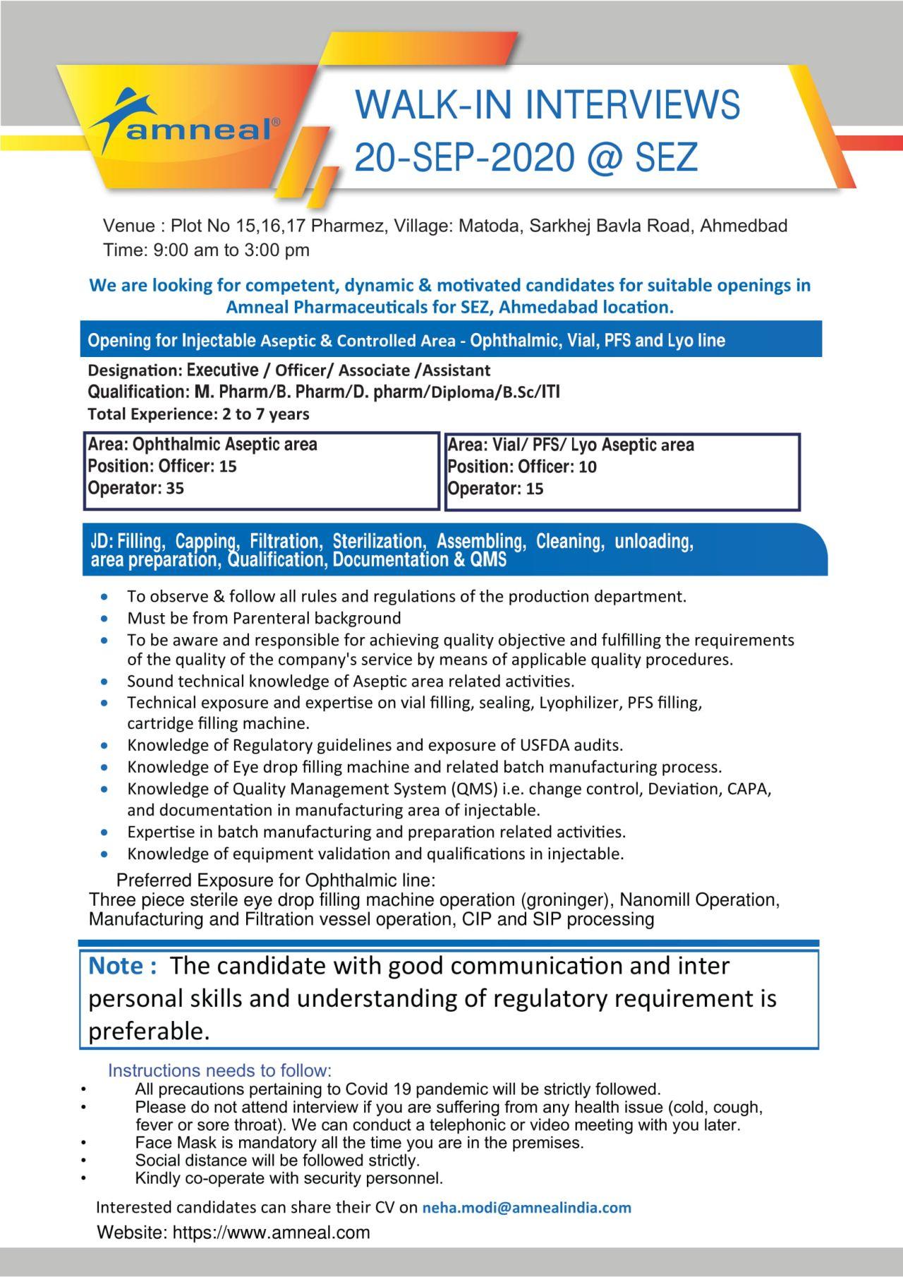 Diploma/  ITI/ B.Sc/D. Pharm/M. Pharm/ B.Pharm/ Jobs Walk-in Interviews In Amneal Pharma Company Matoda, Ahmedabad, Gujarat