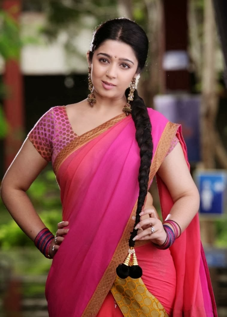 Cute Marathi Actress Wallpapers Charmi In Red Saree Beauty Bazzar