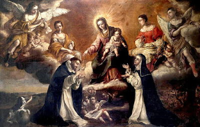 Our Blessed Mother Giving the Rosary to St. Dominic