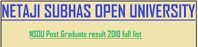 NSOU Post Graduate result 2018 full list