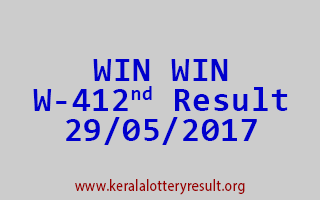 WIN WIN Lottery W 412 Results 29-5-2017