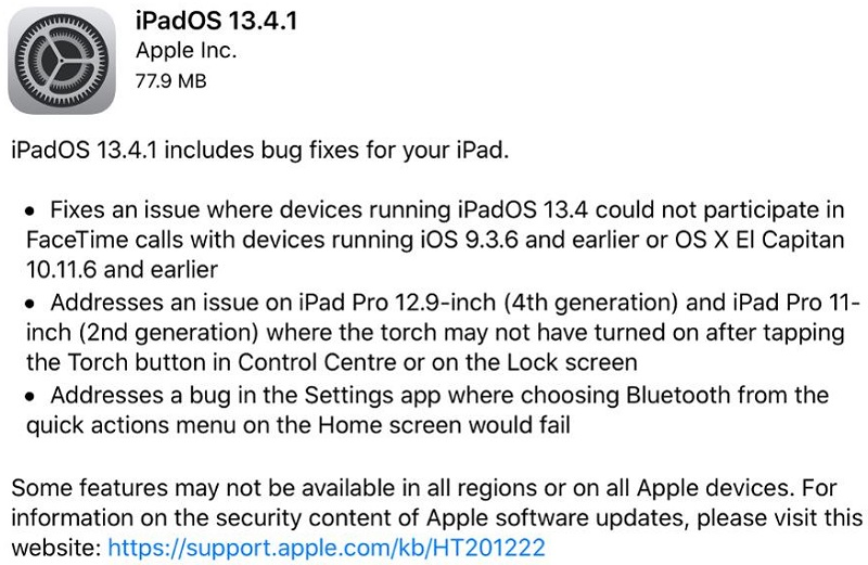 iPadOS 13.4.1 Features