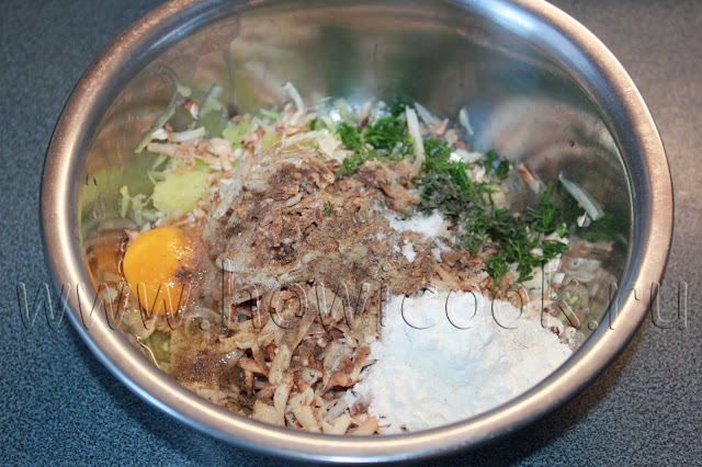 рецепт кабачковых оладий с шампиньонами и зеленью с пошаговыми фото