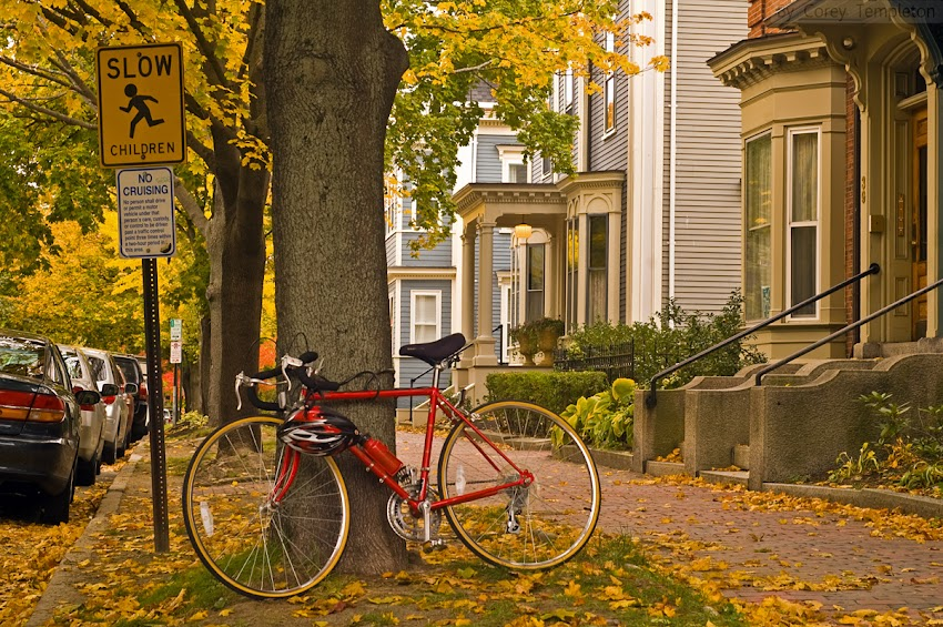 Portland, Maine USA photo by Corey Templeton of Red Bicycle and Yellow Fall Foliage on Deering Street from October 2010.