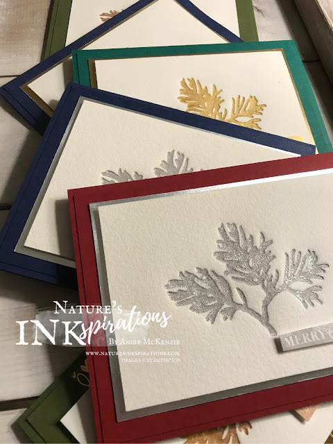 By Angie McKenzie for Ink and Inspiration Blog Hop; Click READ or VISIT to go to my blog for details! Featuring the Letterpress Technique with the Beautiful Boughs Dies from the 2019 Holiday Catalog; #beautifulboughsdies #christmasgleamingstampset #merrychristmastoallstampset #letterpresstechnique #delicatainks #bloghops #inkandinspirationbloghop #christmascards  #cardtechniques