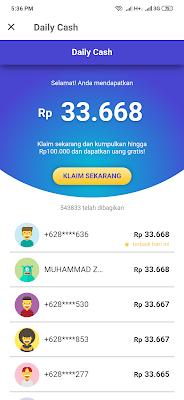 klik claim untuk mendapat uang gratis 100 ribu dari aplikasi Mucho android