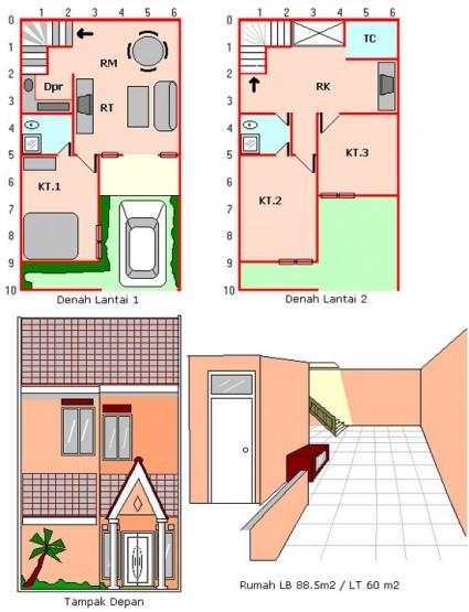 gambar denah rumah sederhana 2 lantai 4