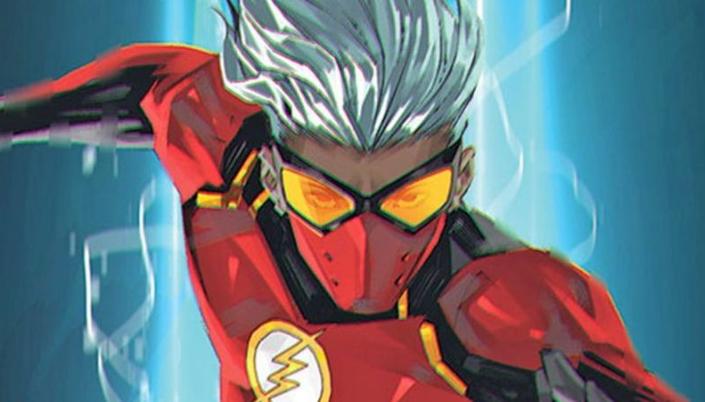 Pessoa negra de cabelos lisos arrepiados e prateados. Em seu rosto, um óculos amarelo e máscara vermelha tampando a boca. Seu uniforme é vermelho com detalhes em preto e amarelo. Em seu peito, o símbolo do Flash (um círculo branco de moldura amarela e um raio amarelo no meio).