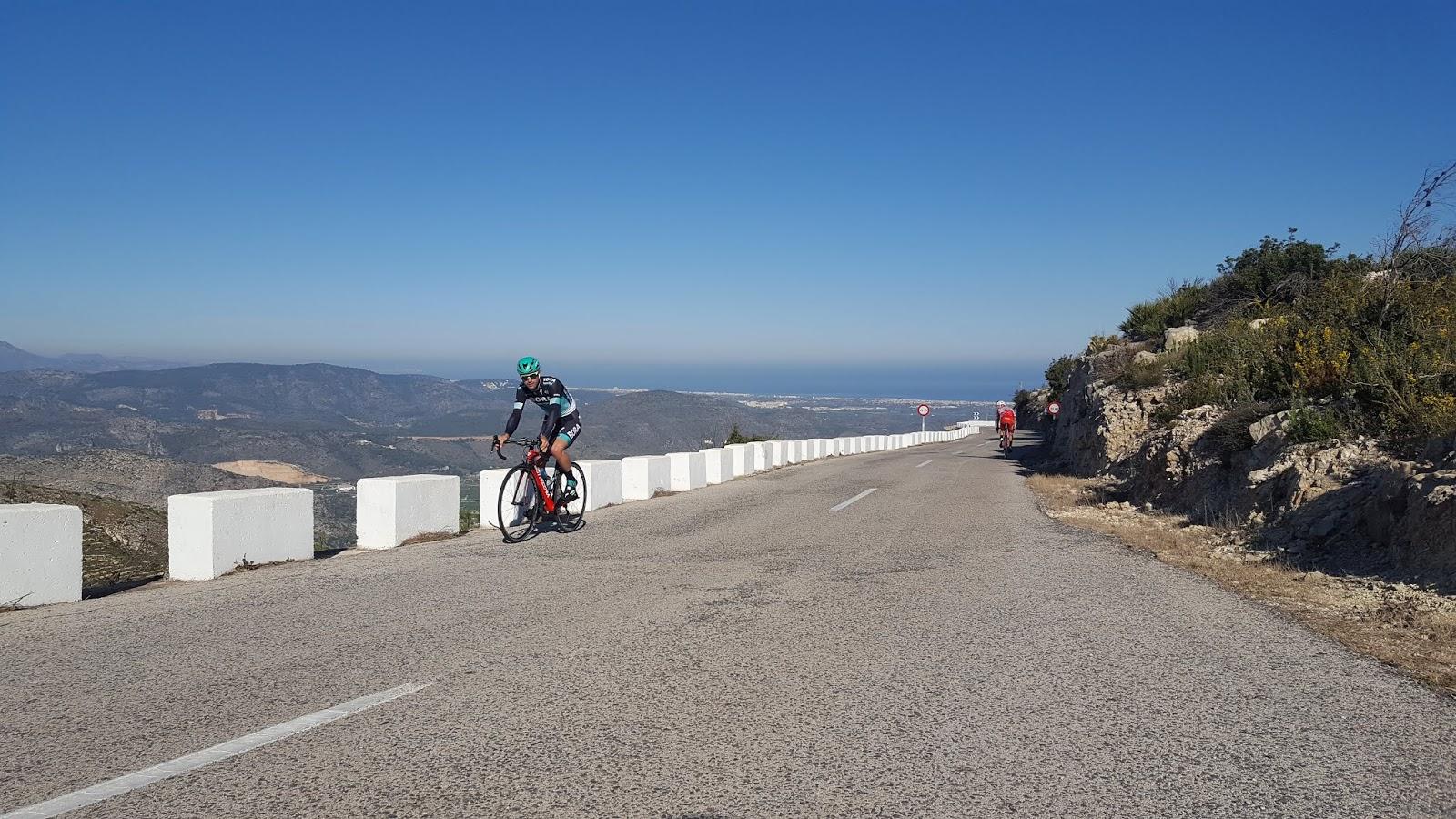 Cyclist climbing Vall d'ebo, Alicante, Spain