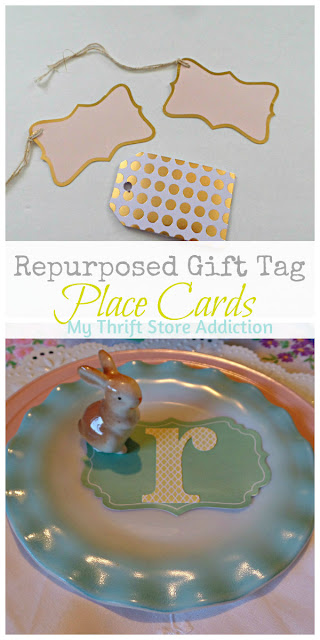 Repurposed gift tag place cards