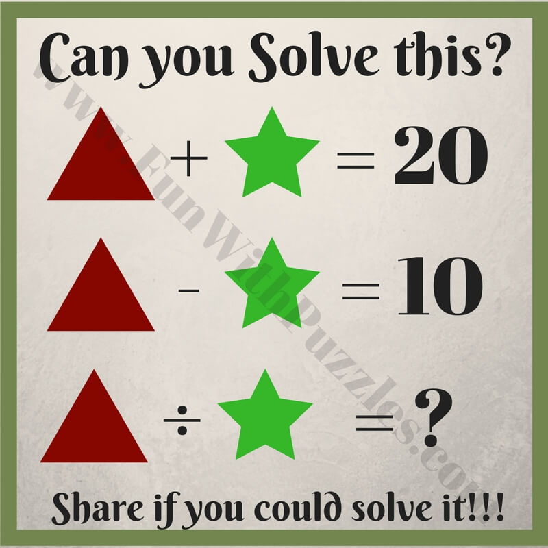 Kids Math Equations Riddles With Answers Fun With Puzzles