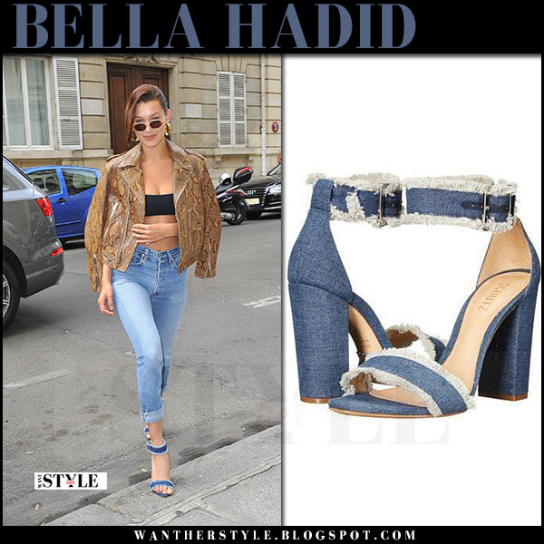 Bella Hadid in blue denim sandals schutz janessa and brown snake skin jacket what she wore june 22 2017 paris
