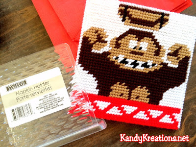 How to make an Easy Donkey Kong napkin holder out of plastic canvas for a fun dinner party.