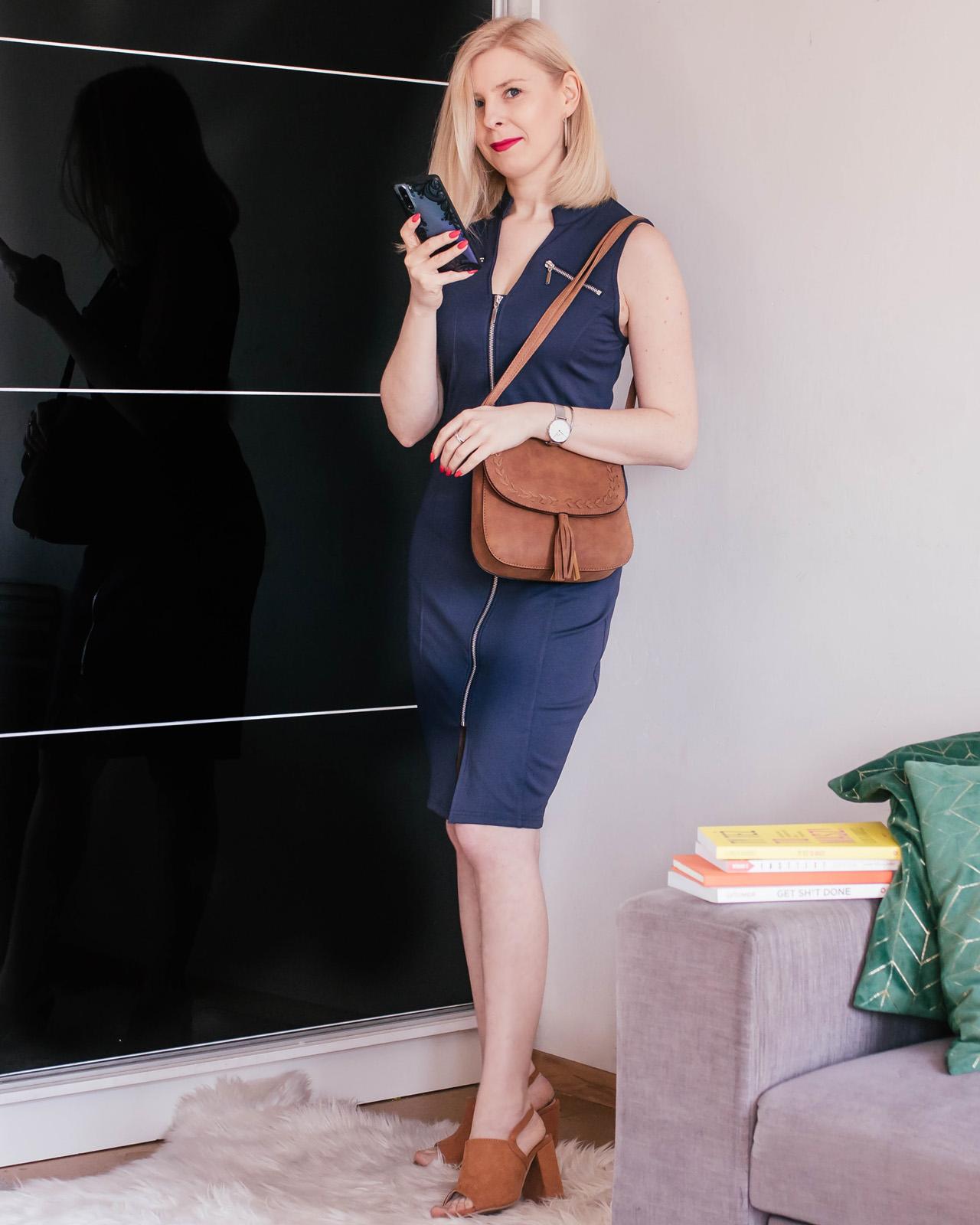 Bonprix - stylizacja elegancka granatowa sukienka