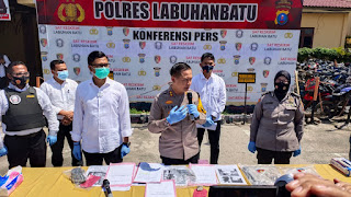 AKBP Deni Kurniawan SiK MH Memimpin Langsung Paparan Kasus Terduga Penembak Oknum Anggota Polsek Kualuh Hulu