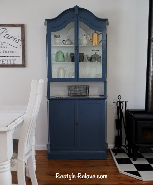 Farmhouse Hutch- Hutch Makeover- Blue Hutch-Restyle Relove-From My Front Porch To Yours- Treasure Hunt Thursday