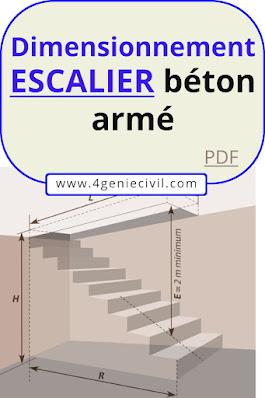 dimensionnement d'un escalier en béton armé, dimensionnement des escaliers pdf, calcul escalier avec palier