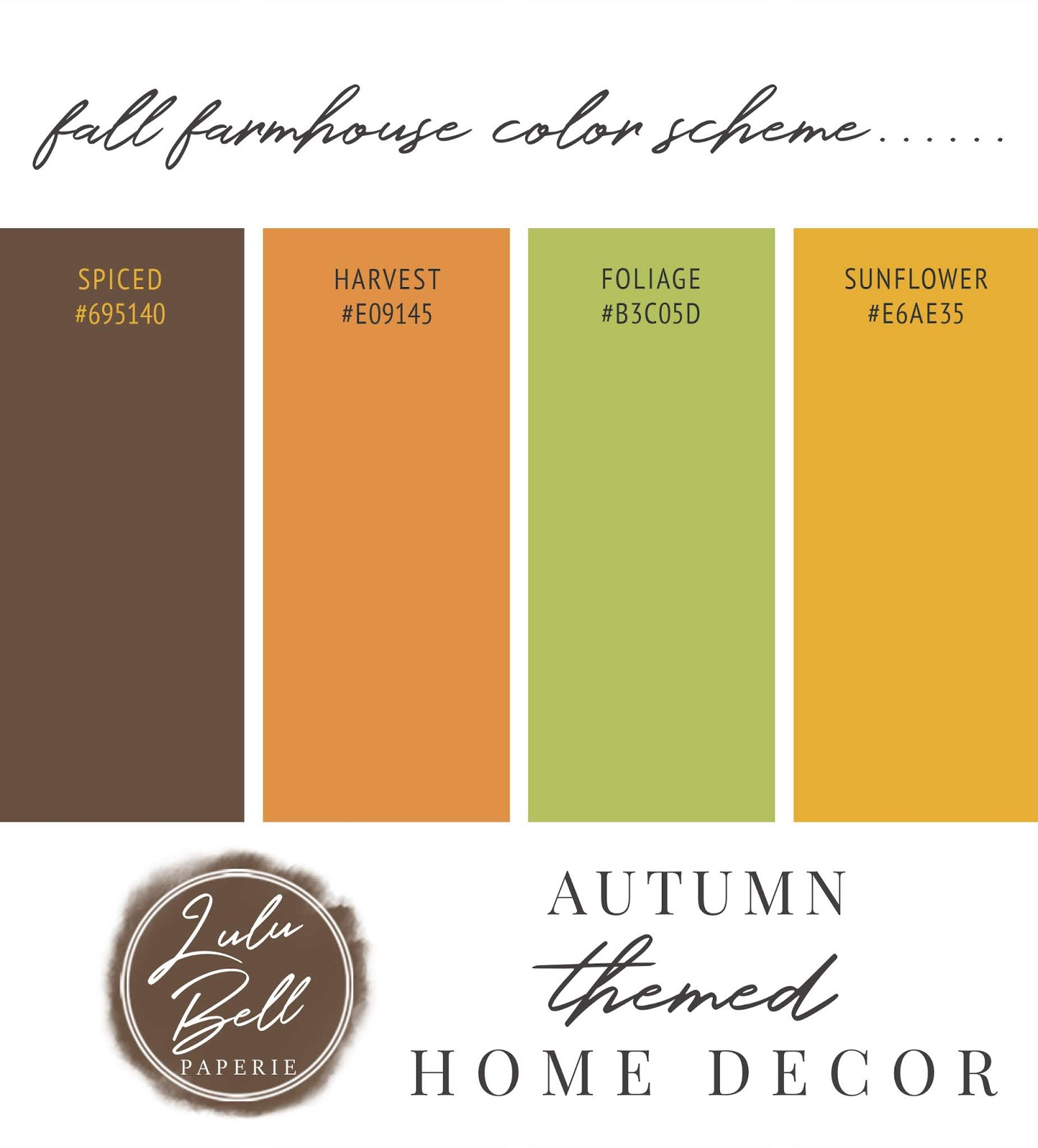 Autumn Farmhouse Home Decor Collection Color Palette Swatches