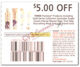 """$5.00/3 Pantene products Coupon from """"P&G"""" insert week of 2/23/20."""