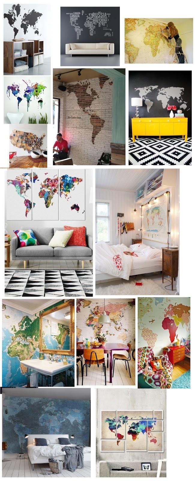 Montagem com várias inspirações de Wall Decal de mapas