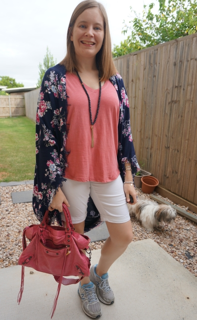 pink tee white bermuda denim shorts outfit with navy floral kimono mum style balenciaga city bag | away from blue