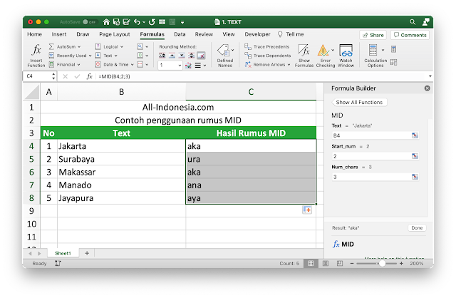 Rumus MID pada Excel