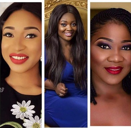 Tonto Dikeh, Mercy Johnson & Jackie Appiah Storm Movie Set