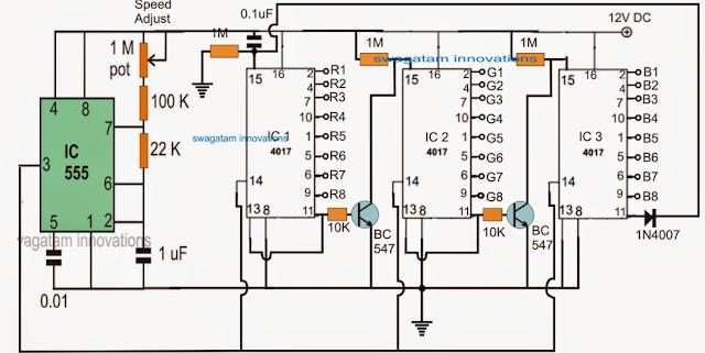 RGB Moving Alphabet Display Circuit