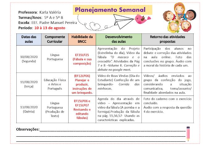 Planilha para planejamento semanal