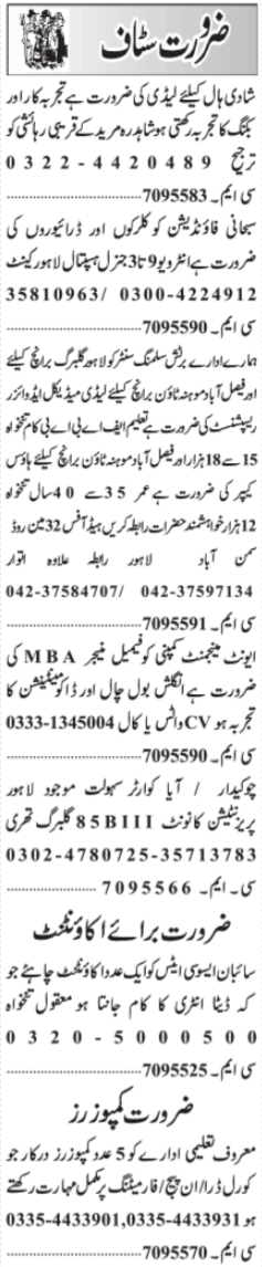 Daily Jang Newspaper Classified Jobs 2021 in Lahore
