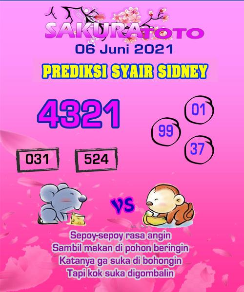 Syair Sakuratoto Sidney Minggu 06 Juni 2021