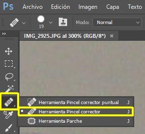 Activar Herramienta Pincel Corrector en Photoshop