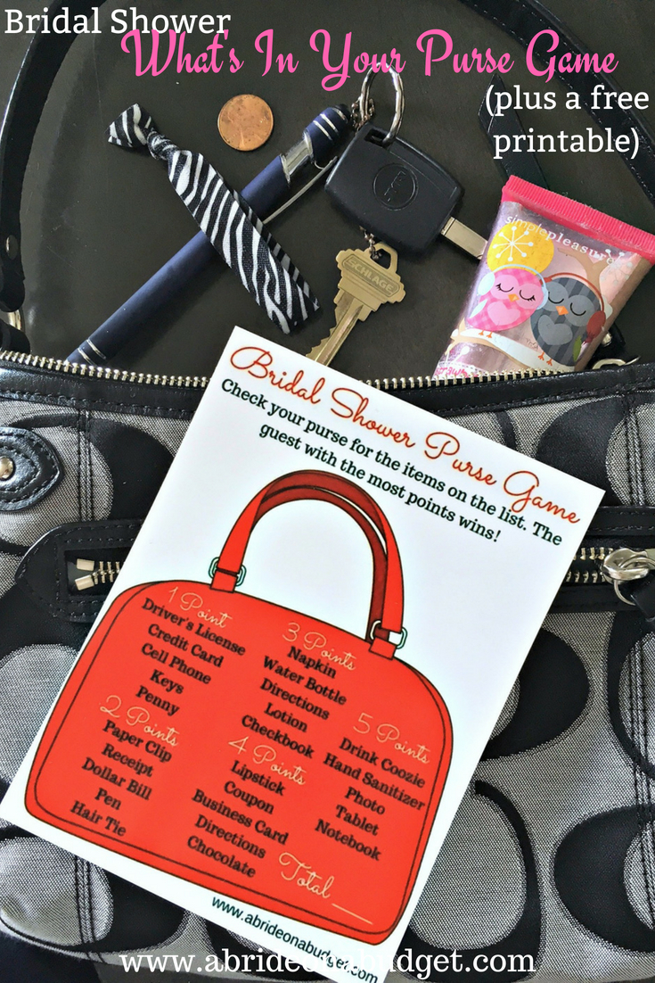 photograph relating to What's in Your Purse Free Printable called Bridal Shower Whats Inside Your Purse Match (furthermore a totally free