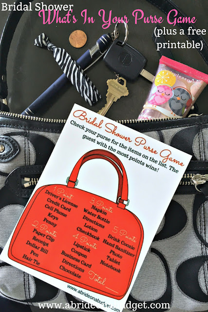 Planning a bridal shower? You NEED to print this FREE bridal shower what's in your purse game from www.abrideonabudget.com. #bridalshower #bridalshowergames #whatsinyourpursegame