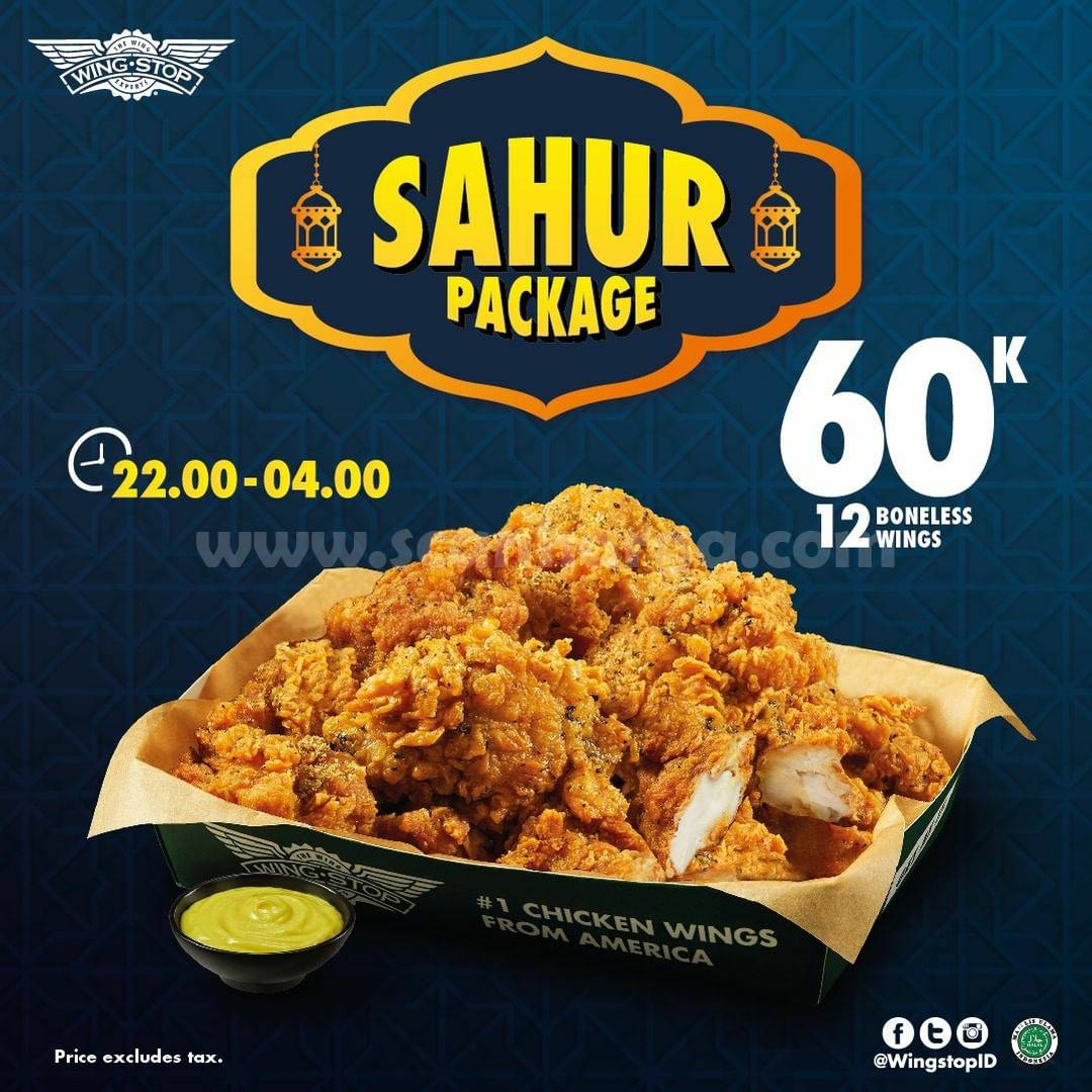 Wingstop Sahur Package - 12 Boneless Wings hanya 60K