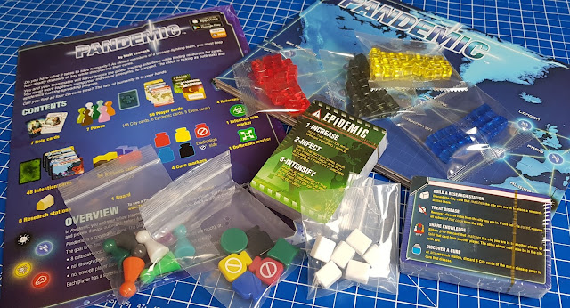 Pandemic Game Review whats in the box contents research station counters markers pawns