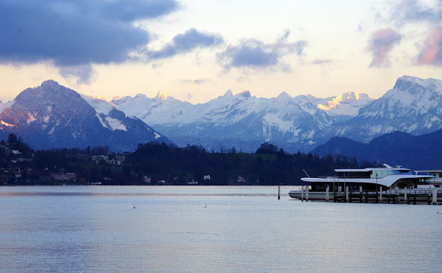 Lake Lucerne and Snow covered mountains