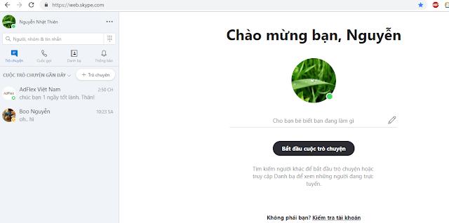 Cách chát skype online trên Google Chrome, Coccoc