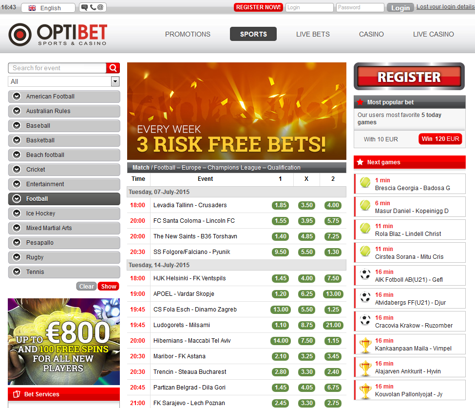 Optibet Sportsbook Screenshot
